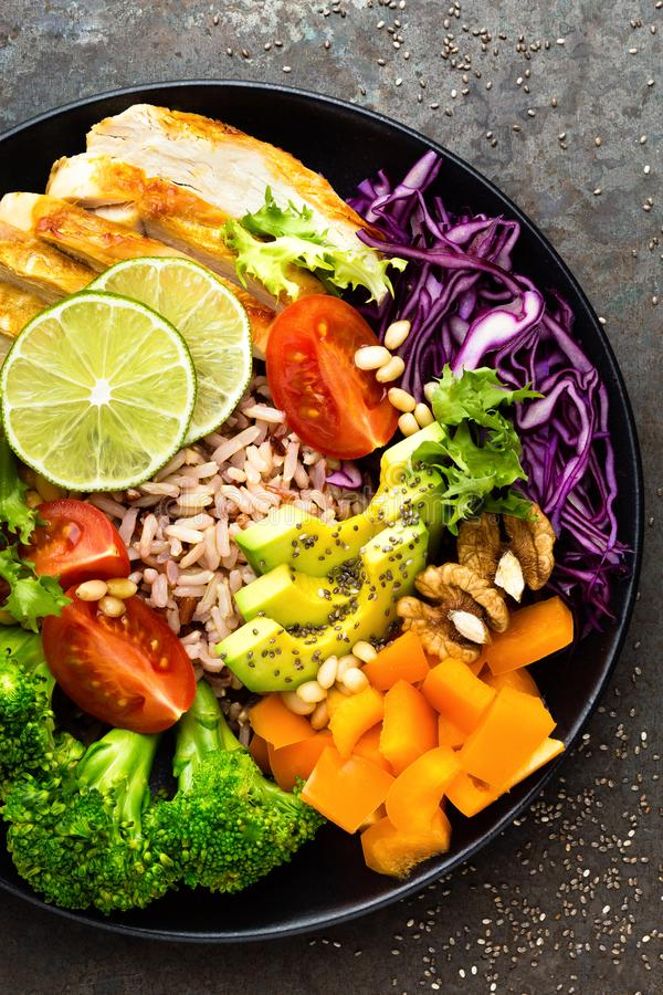 Free Buddha Bowl Meal With Chicken Fillet, Brown Rice, Avocado, Pepper, Tomato, Broccoli, Red Cabbage, Chickpea, Fresh Lettuce Salad, P Royalty Free Stock Photo - 111813065