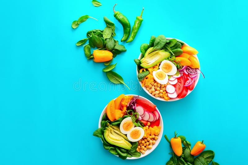 Buddha bowl salad in two bowls stock images