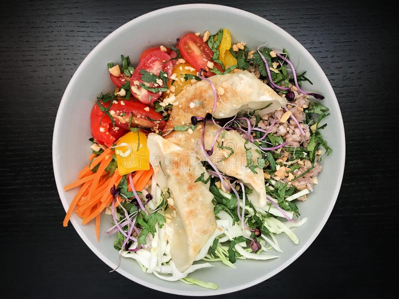 Buddha Bowl With Vegetables and Gyoza royalty free stock images
