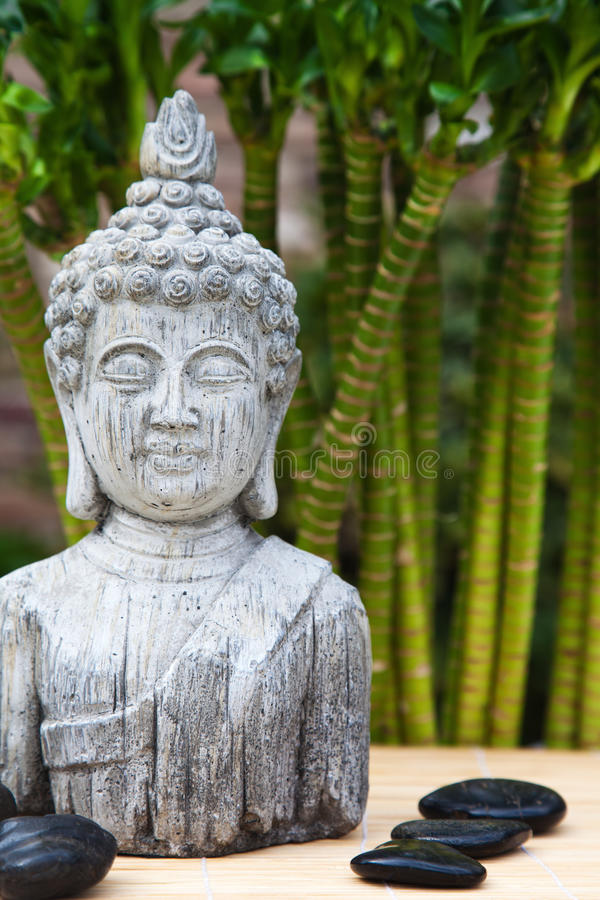 Buddha bust and hot stones