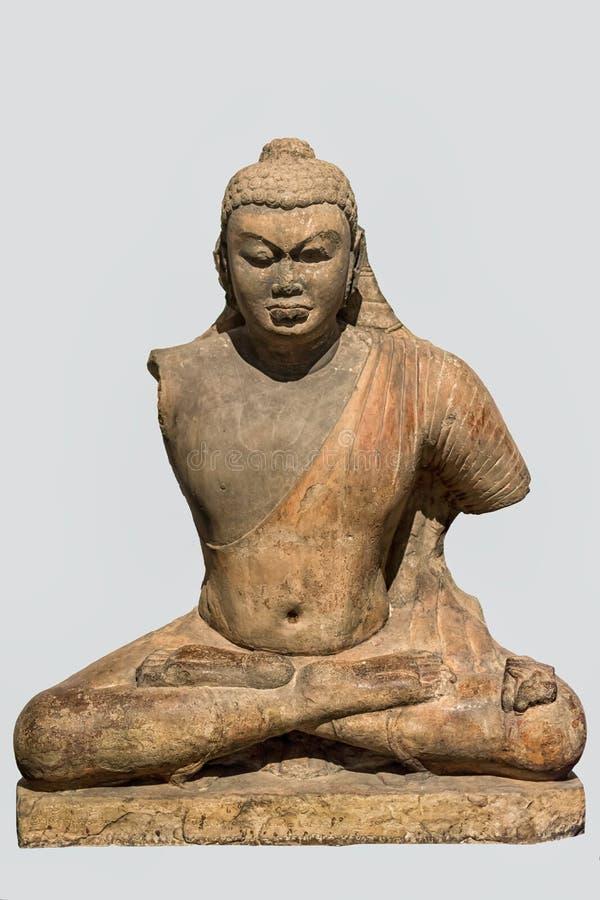 Buddha Ca 4th århundrade röd sandsten, Bodhgaya, Bihar royaltyfria foton