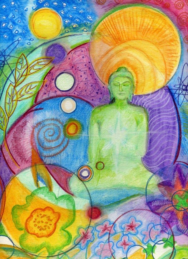 Buddha che meditating illustrazione di stock