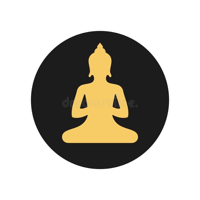 Buddha circle vector icon gold on grey stock illustration