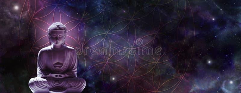 Buddha cosmico che medita su fiore di vita fotografia stock