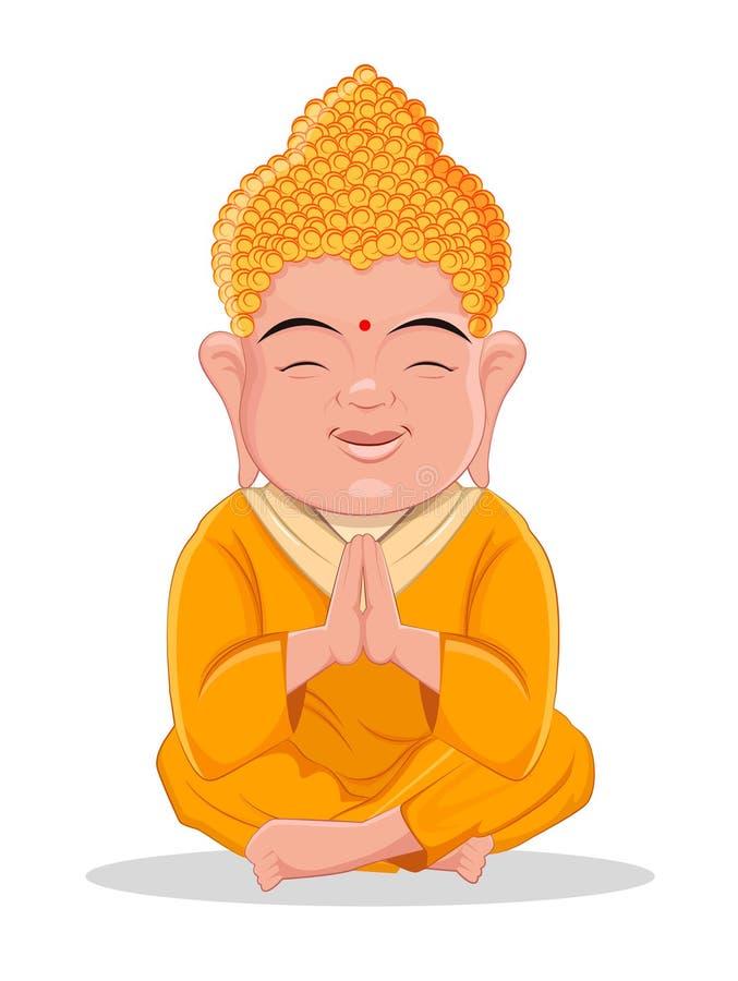 Buddha de assento Personagem de banda desenhada colorido bonito para o indiano, budismo, feriados espirituais ilustração royalty free