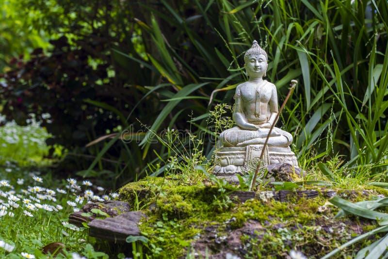 Buddha de pedra em um jardim do zen fotografia de stock royalty free