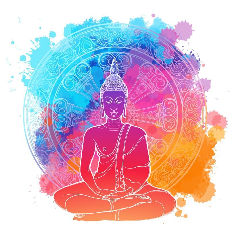 Buddha, der im einzelnen Lotussitz meditiert lineare Zeichnung lokalisiert auf einer hellen strukturierten Aquarellstelle mit stock abbildung