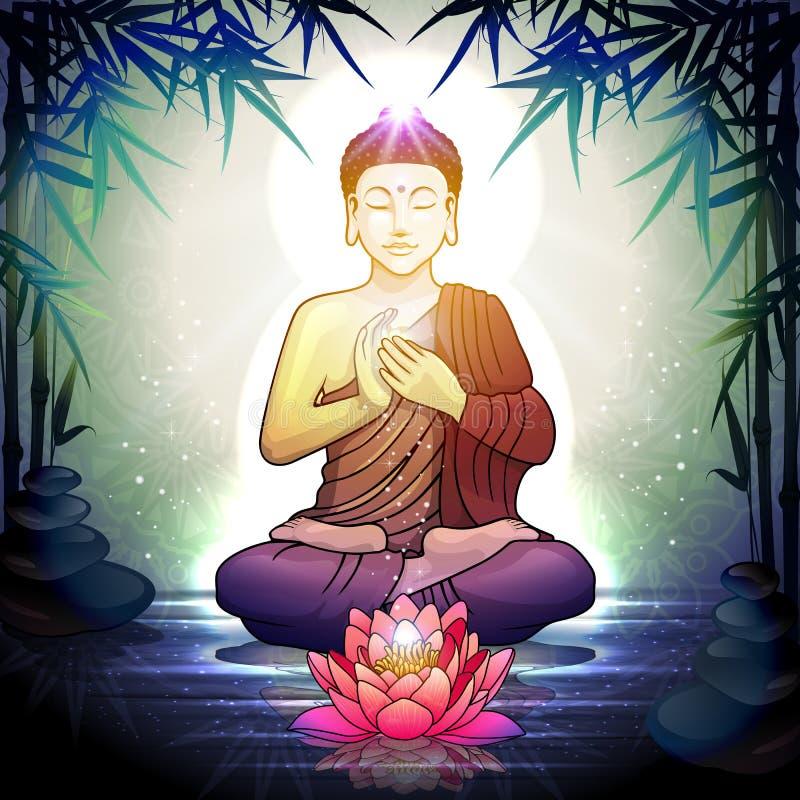 Buddha in der Meditation mit Lotus Flower lizenzfreie stockfotos