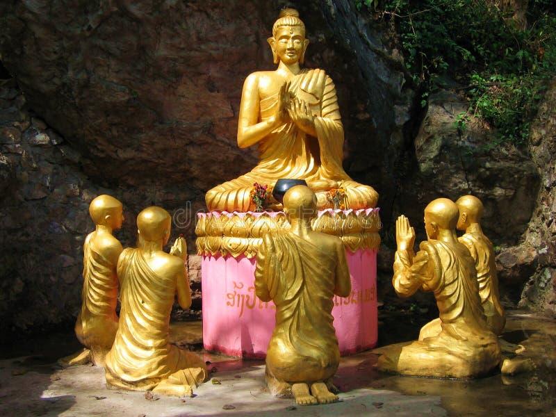 Buddha and disciples royalty free stock photos