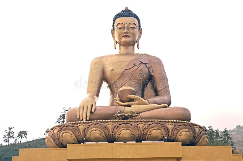 Buddha Dordenma, Thimphu, Bhutan. Buddha Dordenma is height 51.5 metres and it is made of bronze and gilded in gold. It is located on the top a hill royalty free stock images