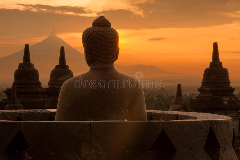 Buddha em Borobudur fotografia de stock