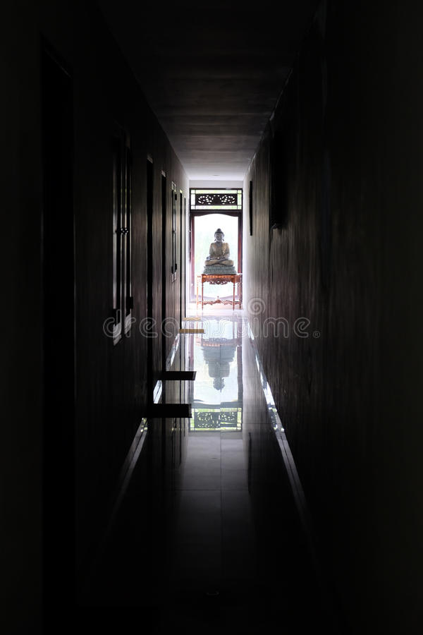 Download Buddha At The End Of A Dark Hallway Stock Image   Image Of Shrine,