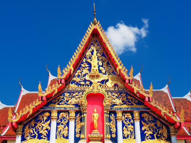 Buddha enshrined in a temple gable. Enshrined Buddha in a temple gable at Wat Na Wong stock photos