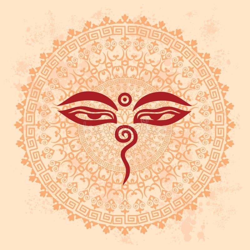 Buddha Eyes Mandala Background Stock Vector Illustration Of