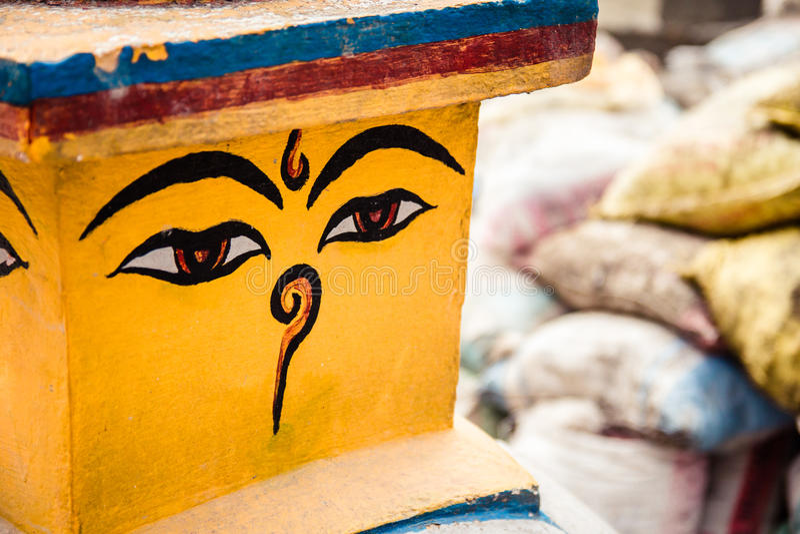 Buddha eyes on stupa stock photo