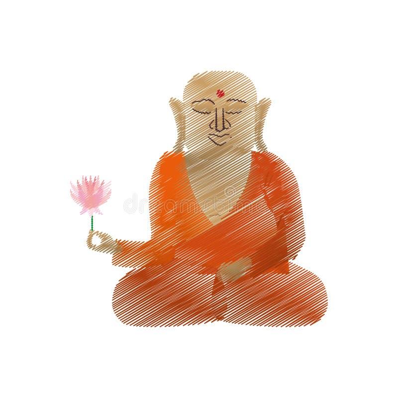 Buddha färbte den Handabgehobenen betrag, der mit Lotosblume sitzt vektor abbildung