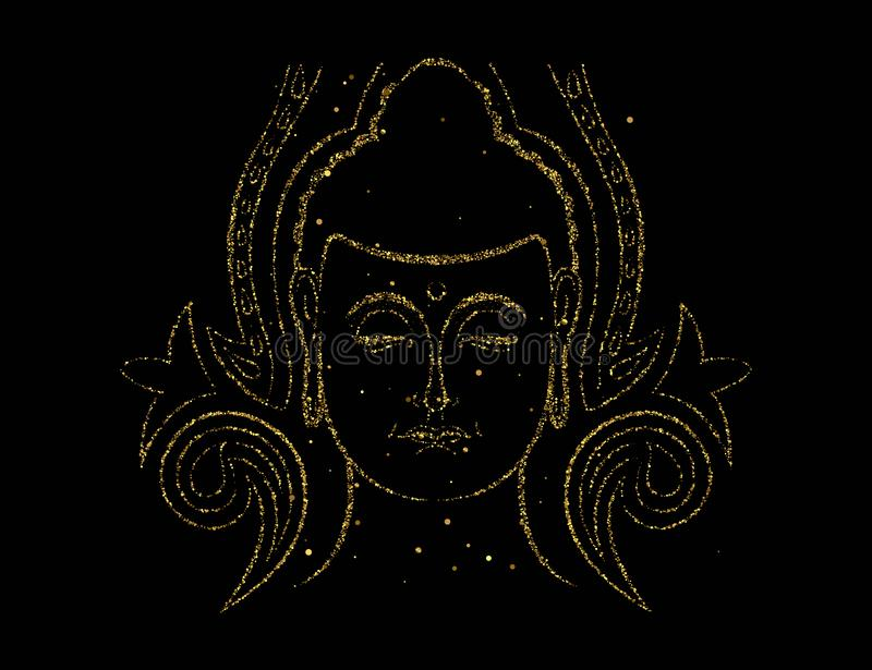 Gold glitter Buddha face for asian art concept royalty free illustration