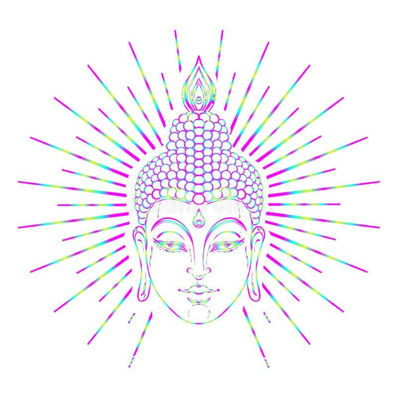 Buddha face over ornate mandala round pattern. Esoteric vintage vector illustration