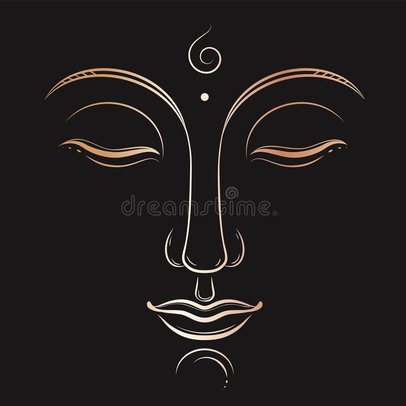 Buddha face vector art. Buddhism, yoga, sacred spiritual, zen ink drawing. In golden gradient color on dark grey background royalty free illustration