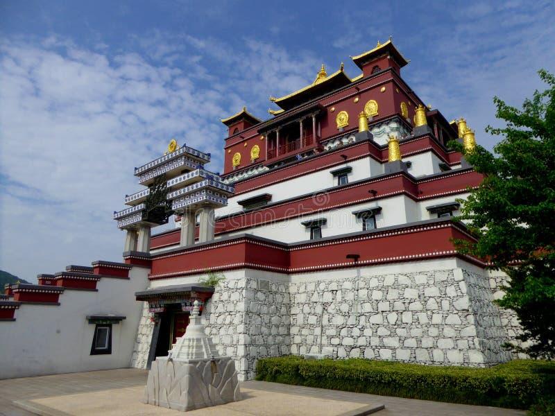 Buddha fem fingeravtryckslotts blick för sida royaltyfria foton