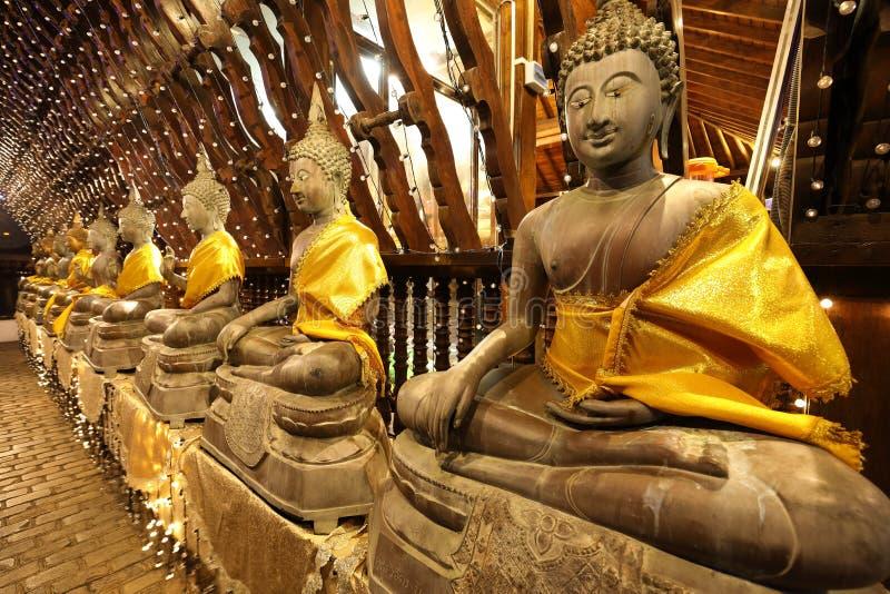 Buddha figures in the Seema Malaka temple of Colombo in Sri Lanka stock photo