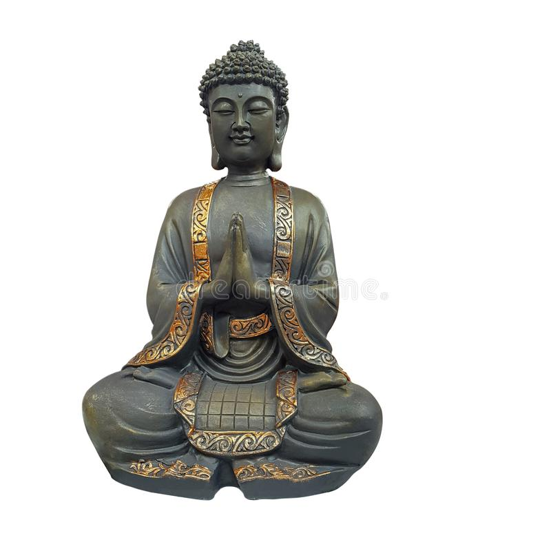 Buddha figurine with folded arms on white background royalty free stock image