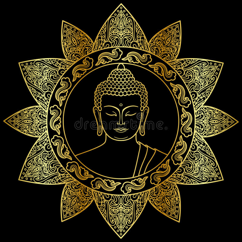 Buddha With Floral Decor Stock Vector Illustration Of Esoteric