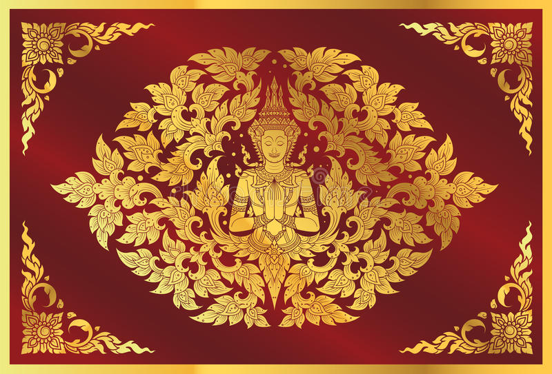 Buddha and flower line thai tradition. Vector royalty free illustration