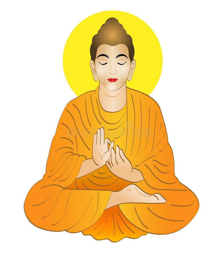 Buddha. Gautama Buddha was a sage on whose teachings Buddhism was founded royalty free illustration