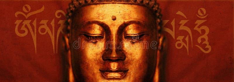 Buddha-Gesicht mit Beschwörungsformel lizenzfreie abbildung