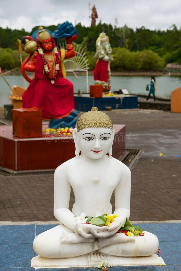 Buddha and gods statues at Ganga Talao Grand Bassin Hindu temple, Mauritius. royalty free stock images