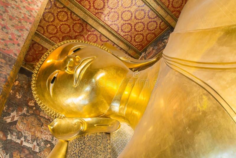 Buddha. Golden reclining giant buddha in wat pho temple, Bangkok, Thailand stock photo