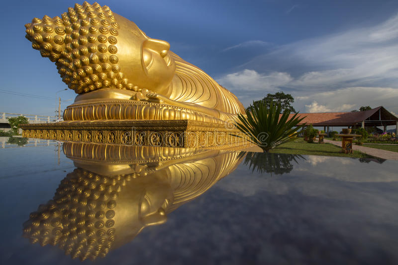 Buddha. Golden buddha with reflection at temple in Songkhla, Thailand stock photos
