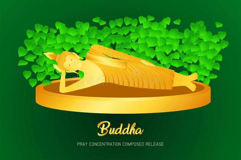Buddha golden sleep monk phra pray concentration composed release front of pho leaf religion culture faith  illustration. Buddha golden sleep monk phra pray stock illustration