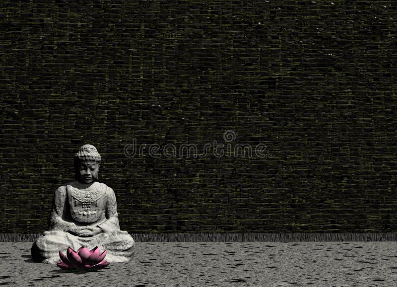 Buddha in grey room - 3D render vector illustration