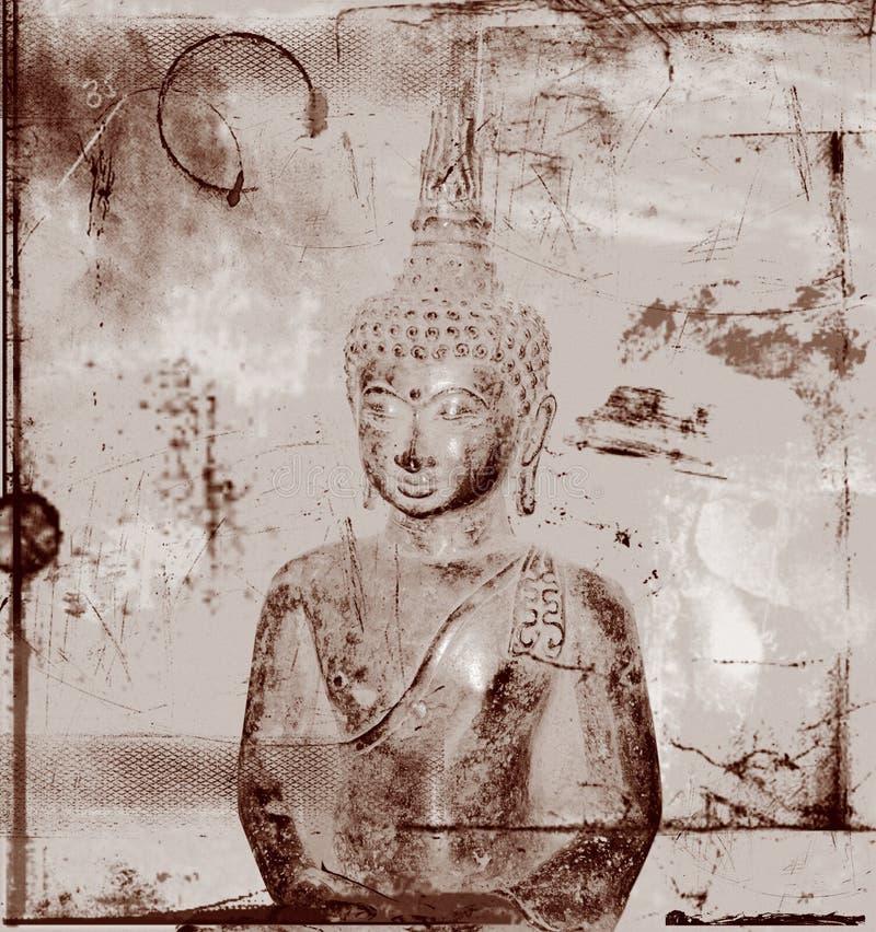 Buddha on grungy background stock illustration
