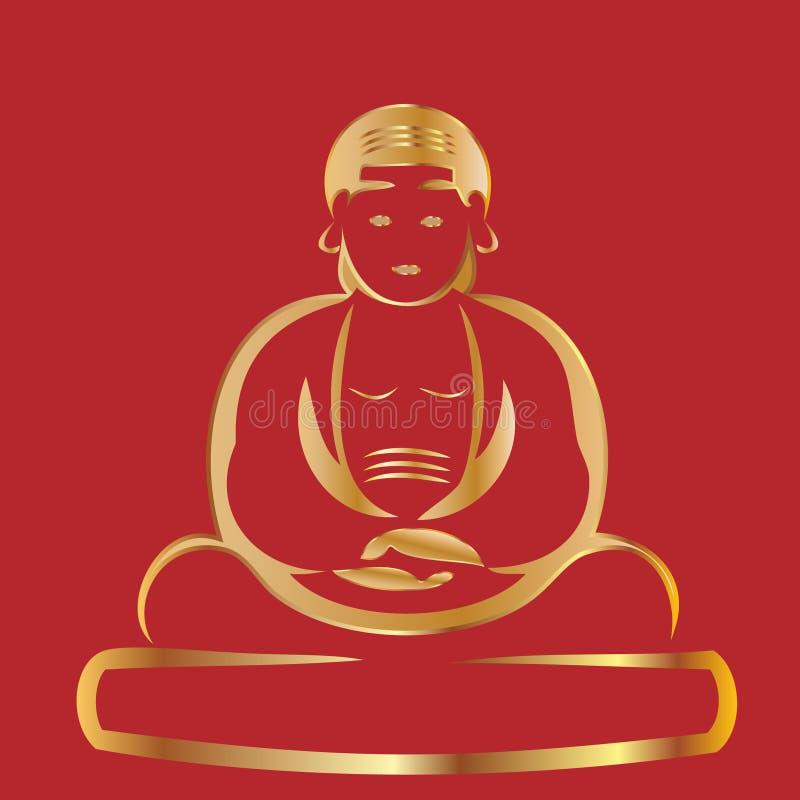 buddha guld stock illustrationer