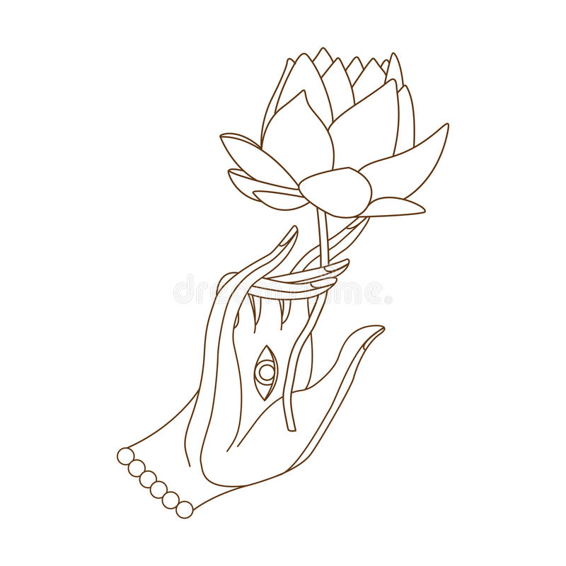 Buddha hand with lotus stock vector. Illustration of ...