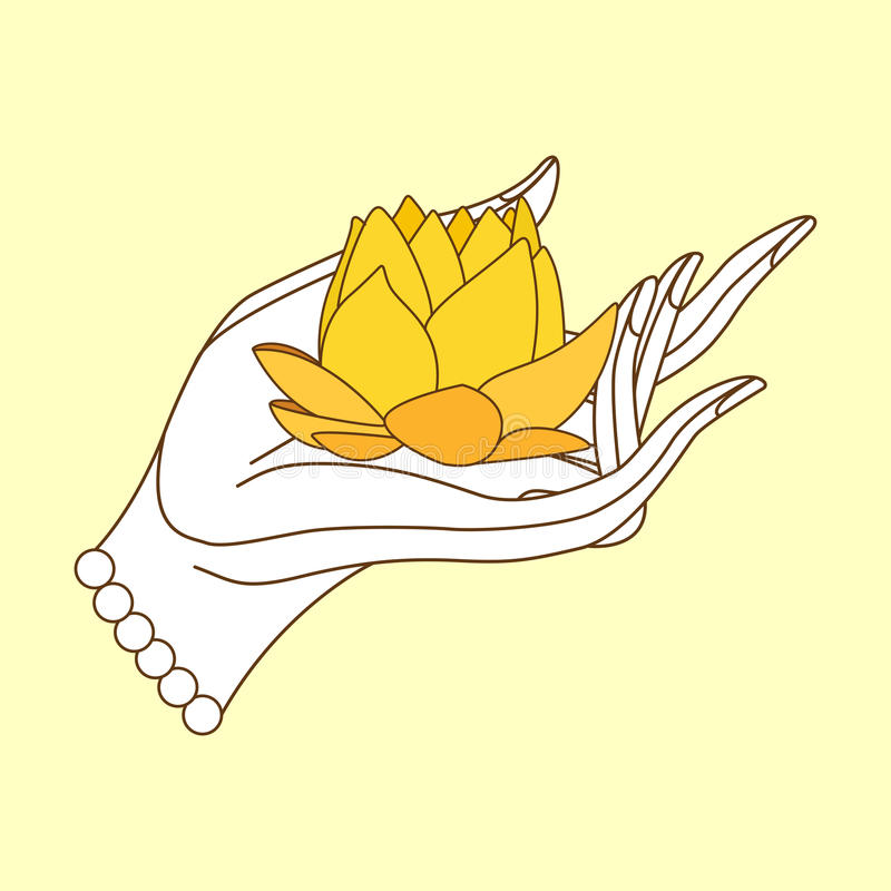 Buddha hand with lotus stock vector. Illustration of mudra ...