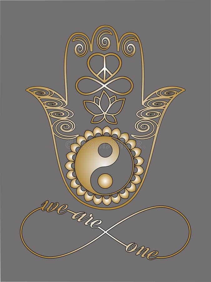 Buddha hand, Ying Yang symbol, Lotus flower, Infinity sign, Peace and love symbol royalty free illustration
