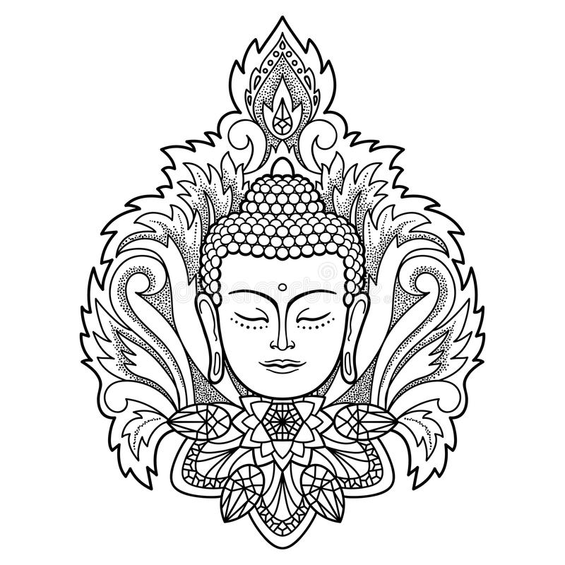 buddha head on floral background stock vector