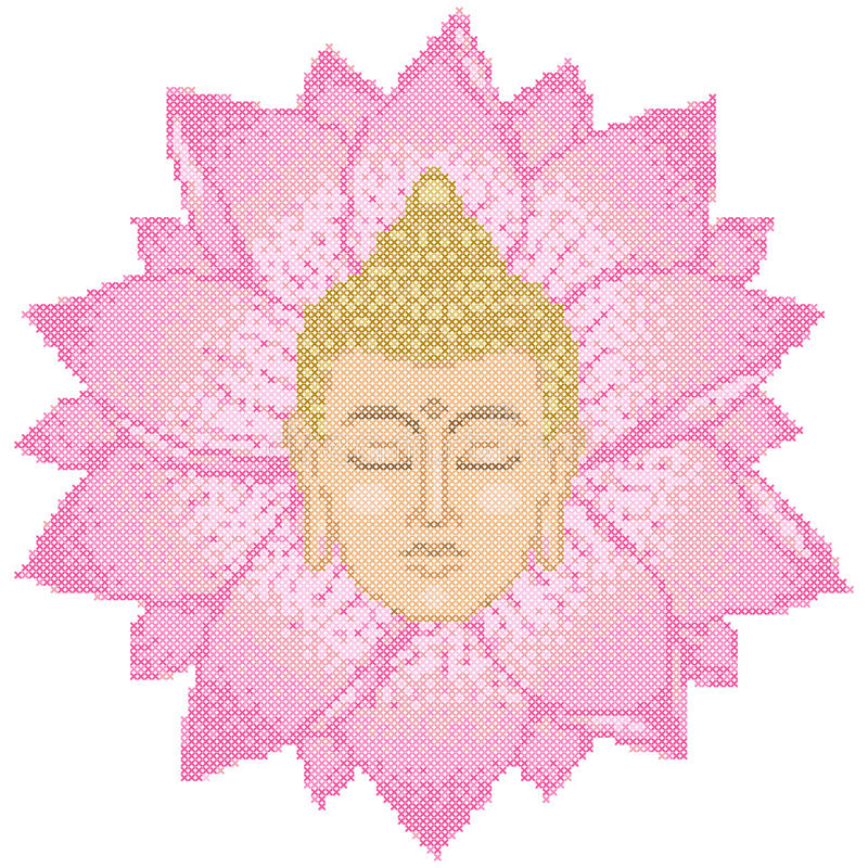 Buddha Head and Lotus Cross Stitch royalty free illustration