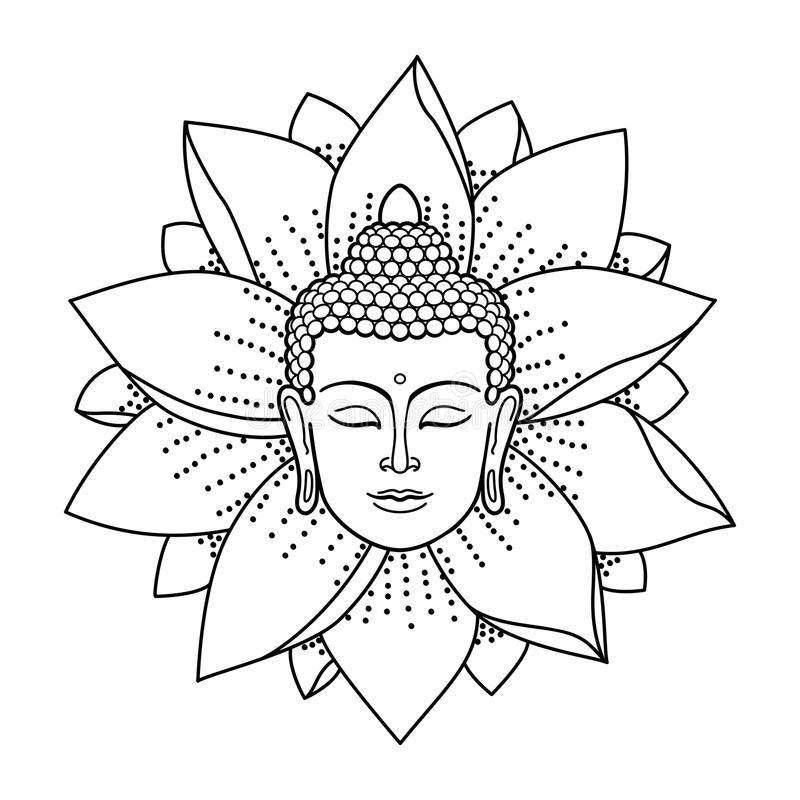 buddha head and lotus stock vector  illustration of