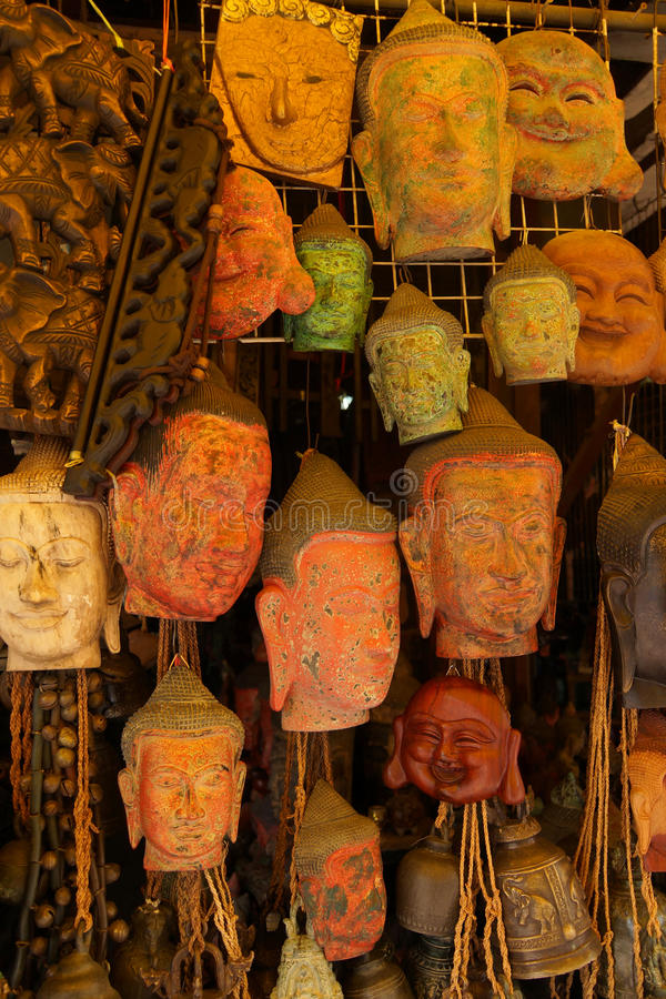 Buddha head masks and carvings royalty free stock photos