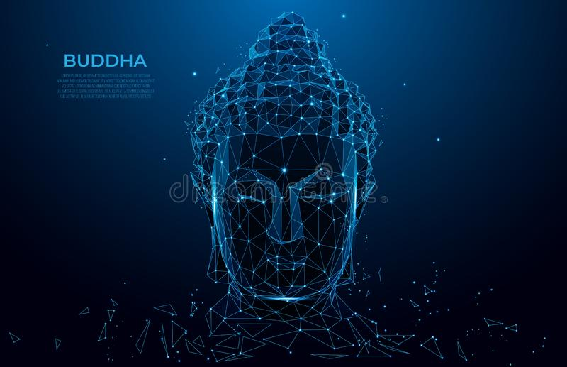 Buddha head silhouette low poly wireframe. Thai culture concept with buddha, low poly style. Vector polygonal wireframe mesh art royalty free illustration