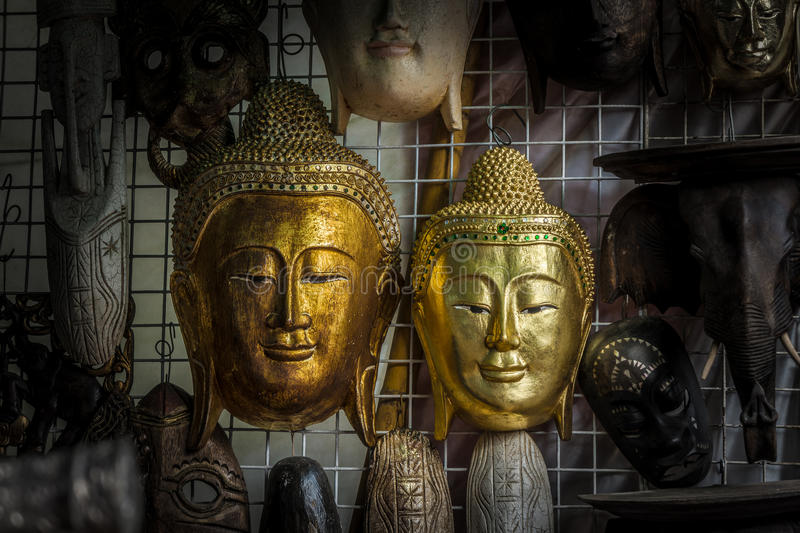 Buddha head statues stock images