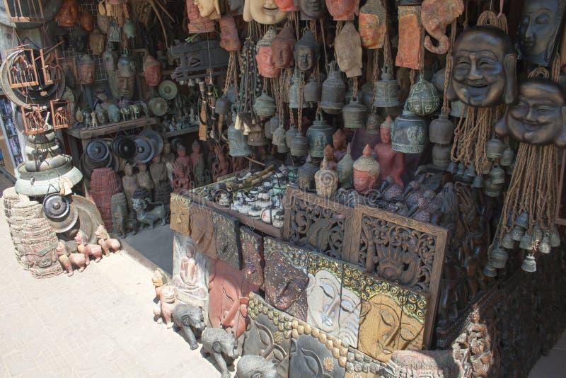 Buddha heads and masks stock image
