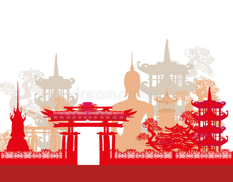 Buddha i azjata krajobraz ilustracji
