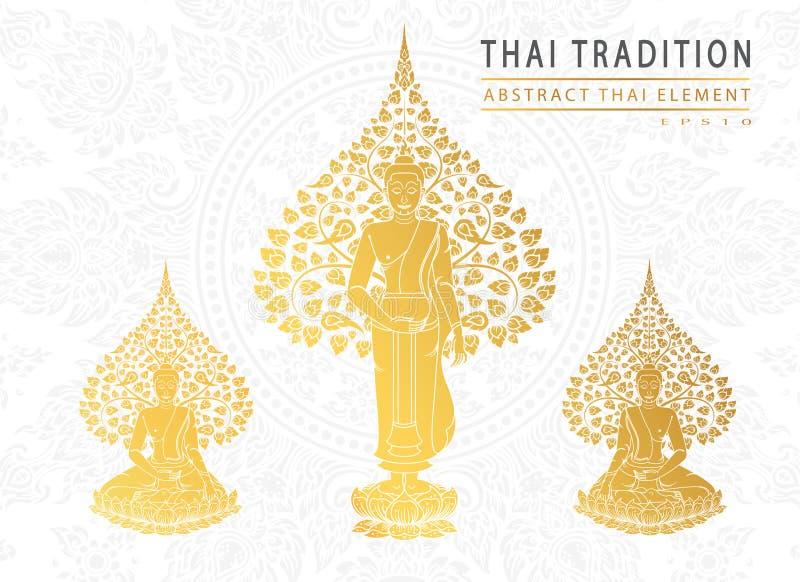 Buddha i Bodhi drzewny złocisty kolor tajlandzka tradycja, kartka z pozdrowieniami royalty ilustracja