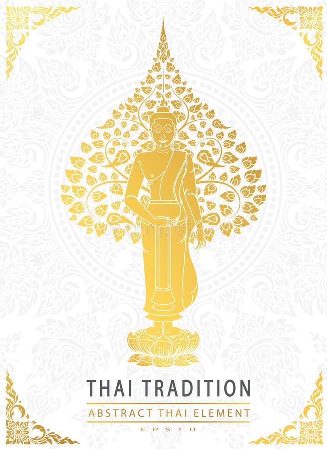 Buddha i Bodhi drzewny złocisty kolor tajlandzka tradycja, kartka z pozdrowieniami ilustracji